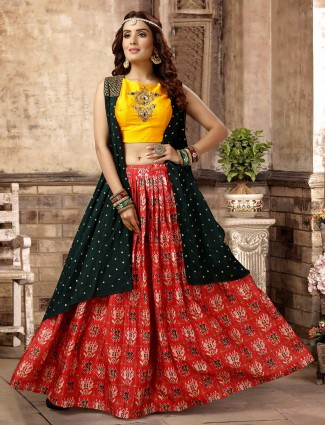 Jacket style green lehenga choli