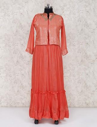 Jacket style long salwar suit in peach