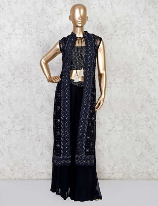 Jacket style palazzo suit in navy