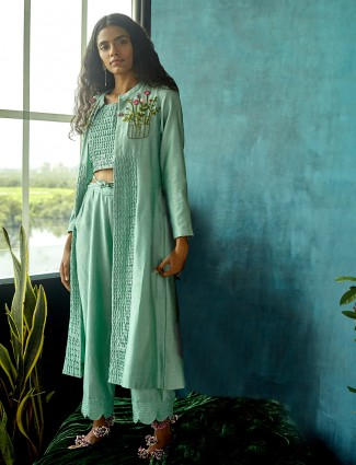 Jacket style salwar suit in sea green color