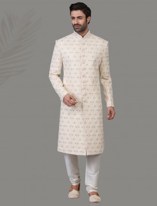 Jacquard silk sherwani in cream