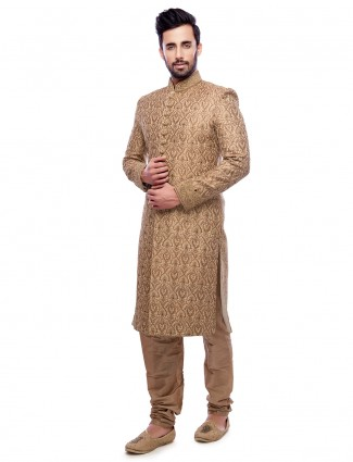 Jamawar beige silk wedding wear sherwani