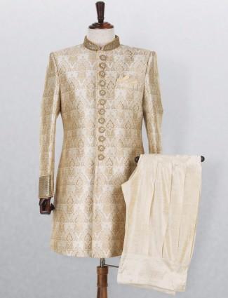 Jamawar cream embroidered wedding wear mens indo western