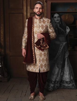 Jamawar cream hue designer groom sherwani