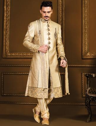 Jamawar designer double layered sherwani