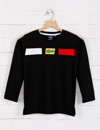Jappkids black printed cotton t-shirt