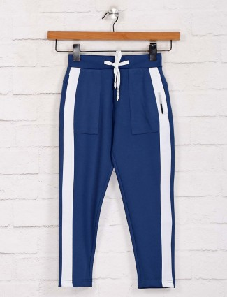Jappkids boys solid blue cotton payjama
