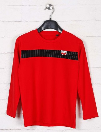 Jappkids casual wear red solid t-shirt