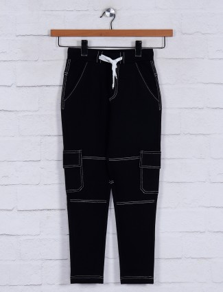 Jappkids cotton black solid track pant