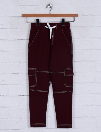 Jappkids night wear solid maroon track pant