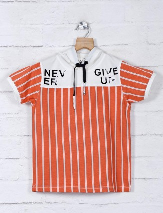 Jappkids rust orange casual wear stripe t-shirt
