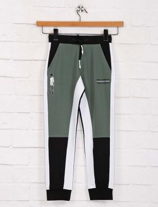 Jappkids solid slim fit green payjama