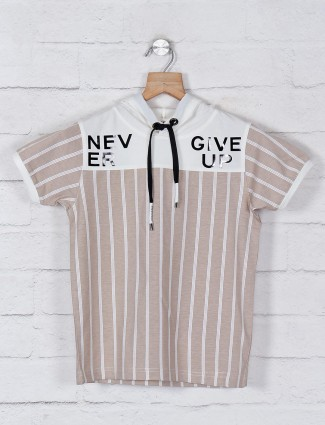 Jappkids stripe beige slim fit t-shirt