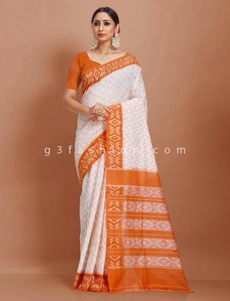 Jaquard pattern pure mul cotton white and mustard yellow printed sari