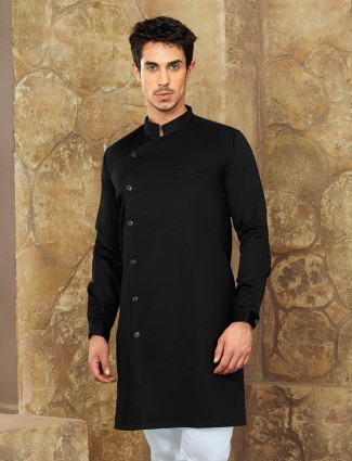Jet black color cotton fabric short pathani