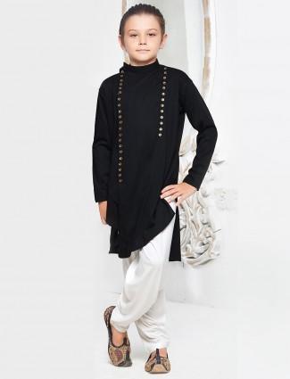 Jet black cotton pathani suit