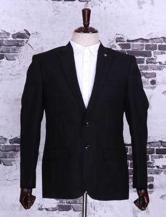 Jet black solid mans blazer
