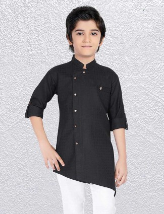 Jet black solid short kurta