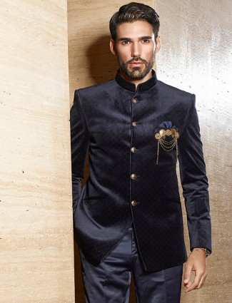 Jodhpuri suit in black color for weddings