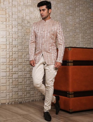 Jodhpuri suit in peach colored for mens