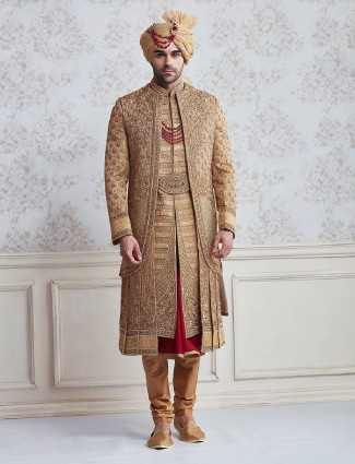 Jute beige wedding wear designer sherwani
