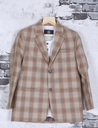 Jute cream checks pattern blazer