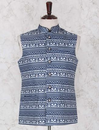Jute fabric printed blue waistcoat