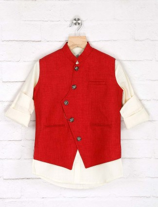 Jute red and cream color solid waistcoat shirt