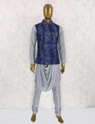Jute silk navy and grey waistcoat set