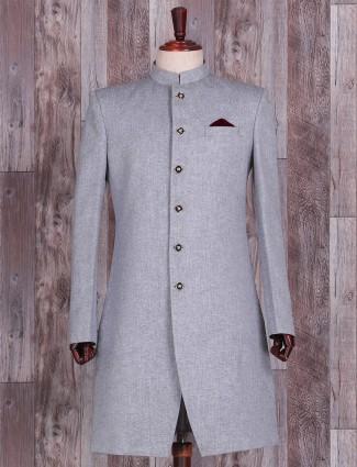 Jute silk plain classy grey indo western