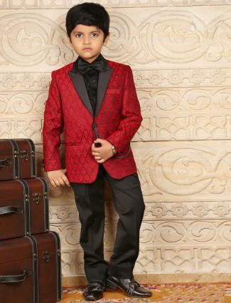Jute silk printed maroon boys coat suit