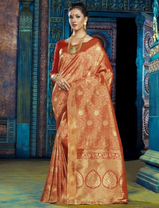 Kanachana silk orange saree