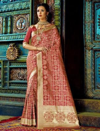 Kanchana silk maroon saree