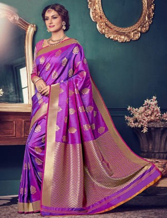 Kanchivaram silk purple saree