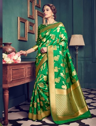 kanchivarm silk green saree