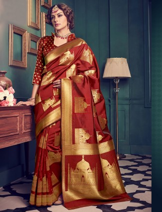 kanchivarm silk maroon saree