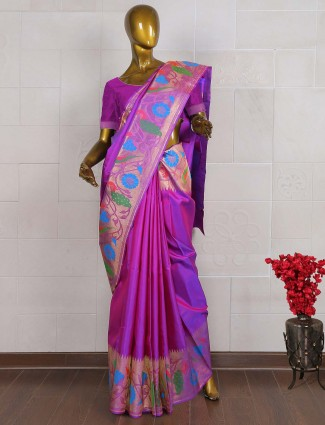 Kanjivaram saree in purple hue