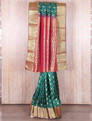Kanjivaram silk green saree
