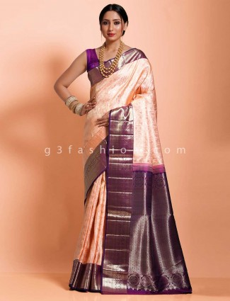 Kanjivaram silk wedding or reception sari in peach
