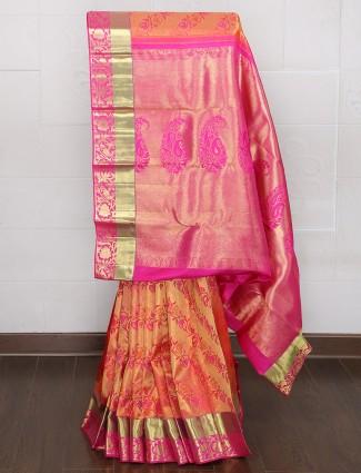 Kanjivaram silk wedding peach color saree