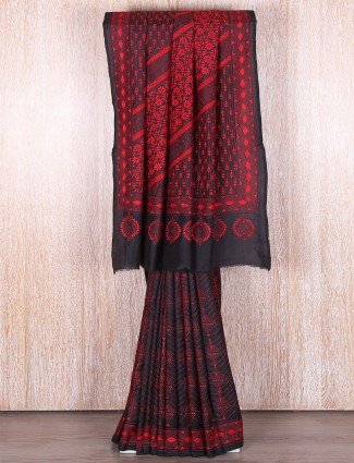 Kantha work party wear black saree
