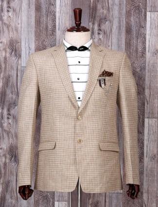 Khakhi hue printed pattern blazer
