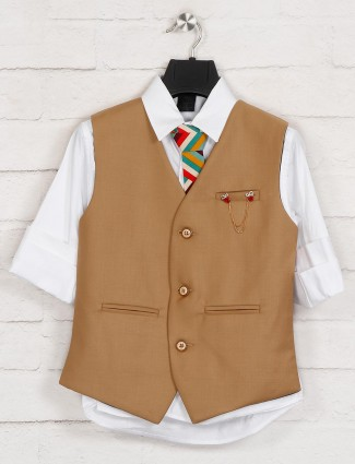 Khaki and white terry rayon waistcoat shirt