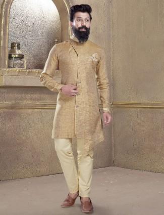 Khaki color solid kurta suit