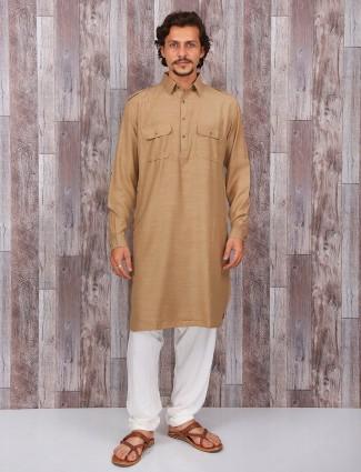 Khaki cotton plain pathani suit