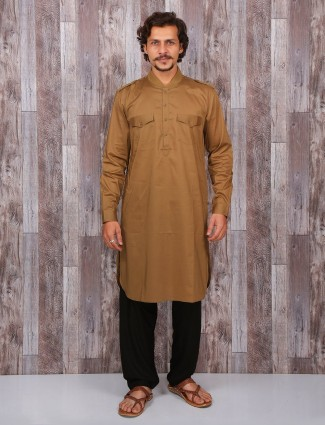 Khaki cotton solid pathani suit