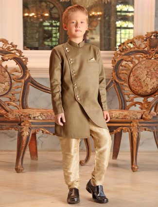 Khaki hue simple party terry rayon indo western