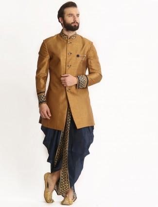 Khaki navy silk dhoti style indo western