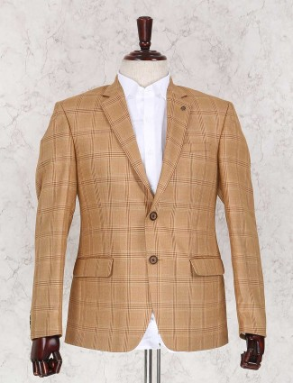 Khaki terry rayon checks blazer