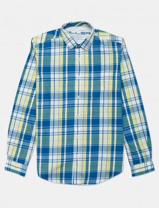 Killer cotton checks teal green mens shirt
